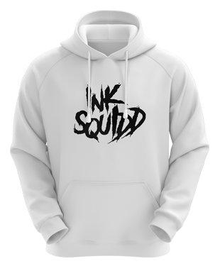 Ink Squid - Text Logo Hoodie - White